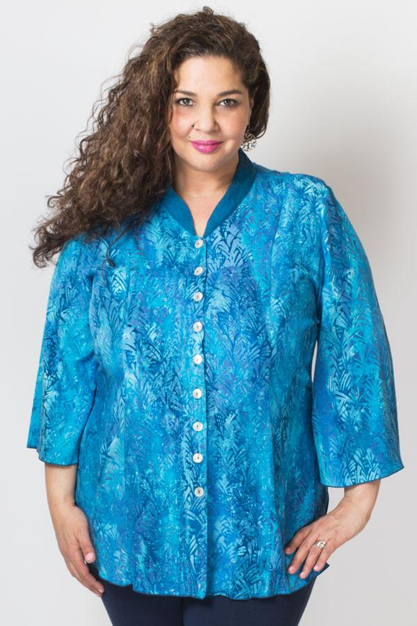 Mar Blouse, Cyan/Blue Seabed
