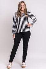 Mariah Top, White/Black Big Stripe, Bamboo