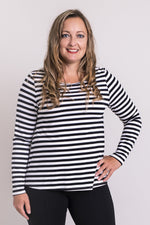 Women's casual, black and white stripe long-sleeve shirt with round neckline, made of natural bamboo fibers.
