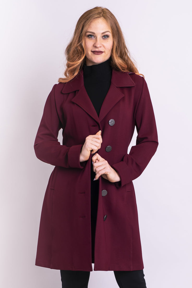Women's warm winter burgundy long trench mariana coat with buttons, hood, and pockets.