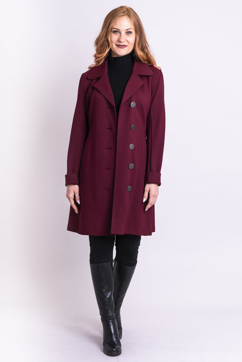 Marianas Trench Coat, Burgundy, Modal - Blue Sky Clothing Co