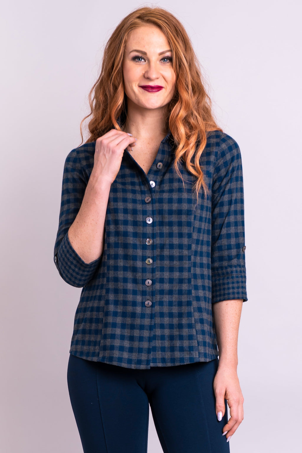 Marley Top, Indigo Plaid, Cotton Flannel - Blue Sky Clothing Co
