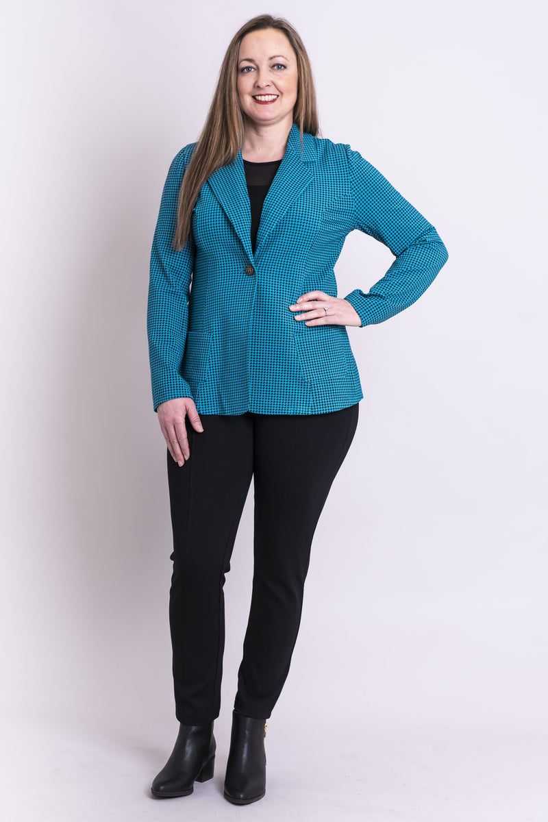 Marshalla Jacket, Icicle Houndstooth, Bamboo - Blue Sky Clothing Co