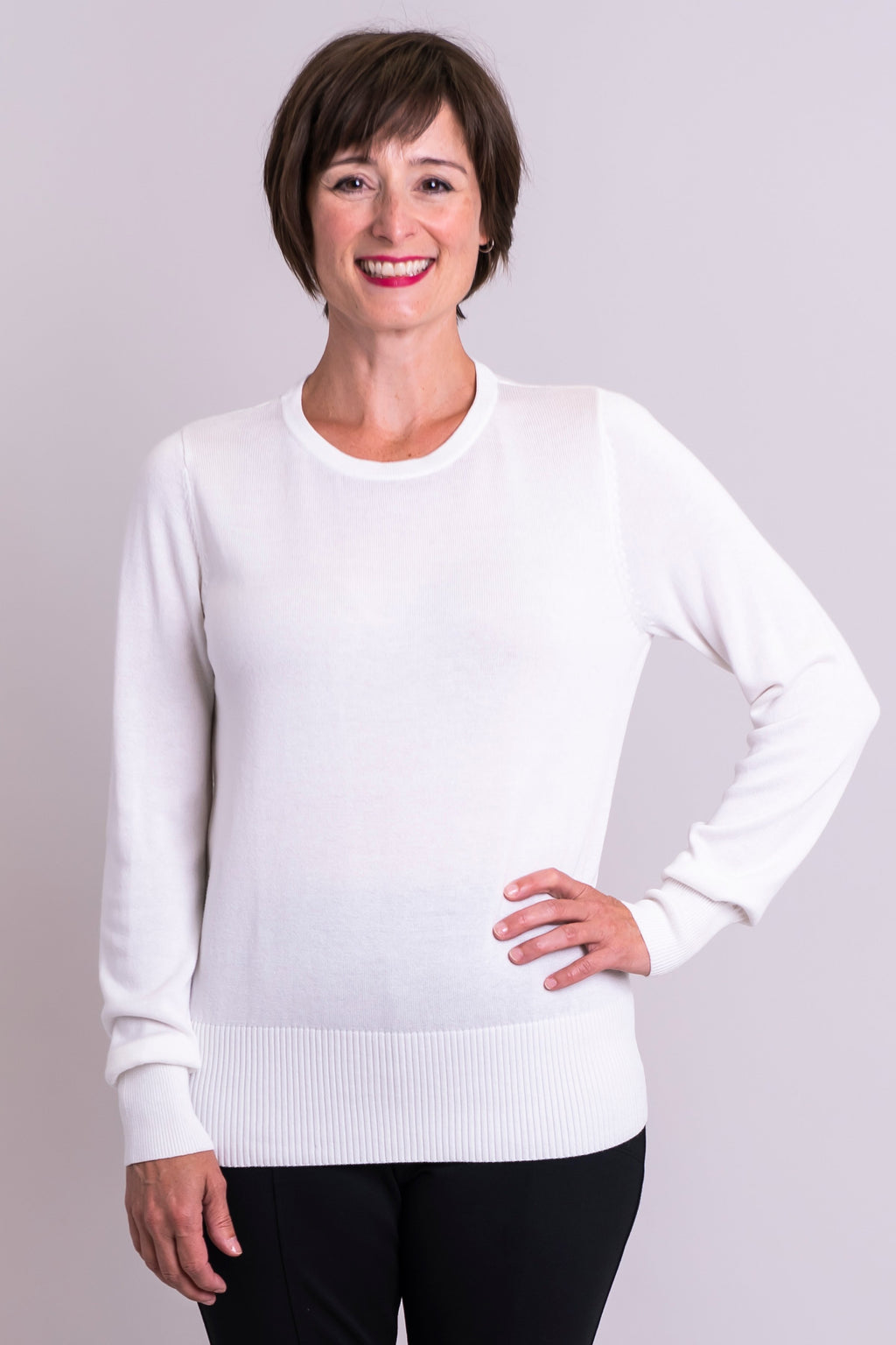 Maureen Sweater, White, Bamboo Cotton - Blue Sky Clothing Co