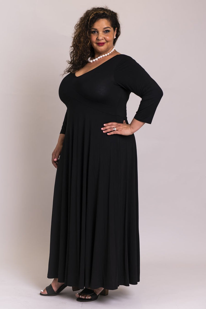 Melinda 3/4 Slv Dress, Black, Bamboo Modal