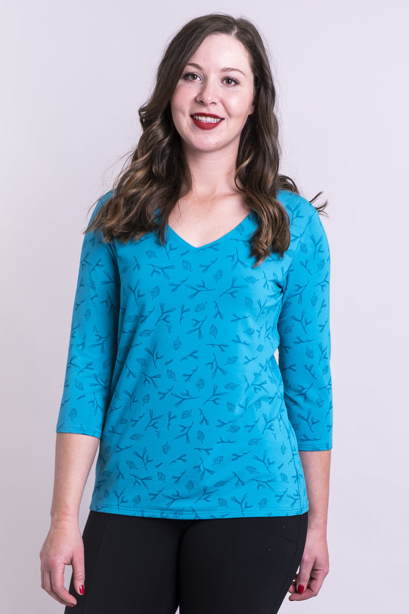 Mia Top, Ice Pinecones, Bamboo - Blue Sky Clothing Co
