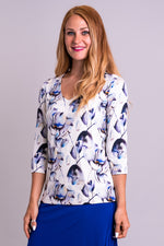Women's flower print, casual 3/4 sleeve V-neck long-sleeve shirt, made with natural bamboo fibers.