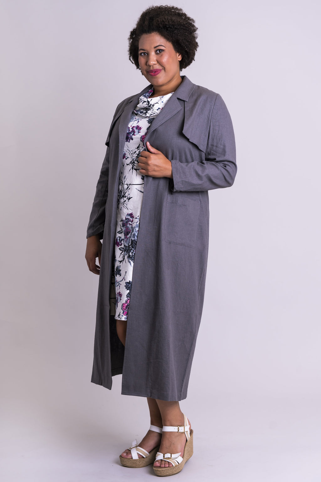 Mikayla Coat, Ash Grey, Linen Viscose - Blue Sky Clothing Co