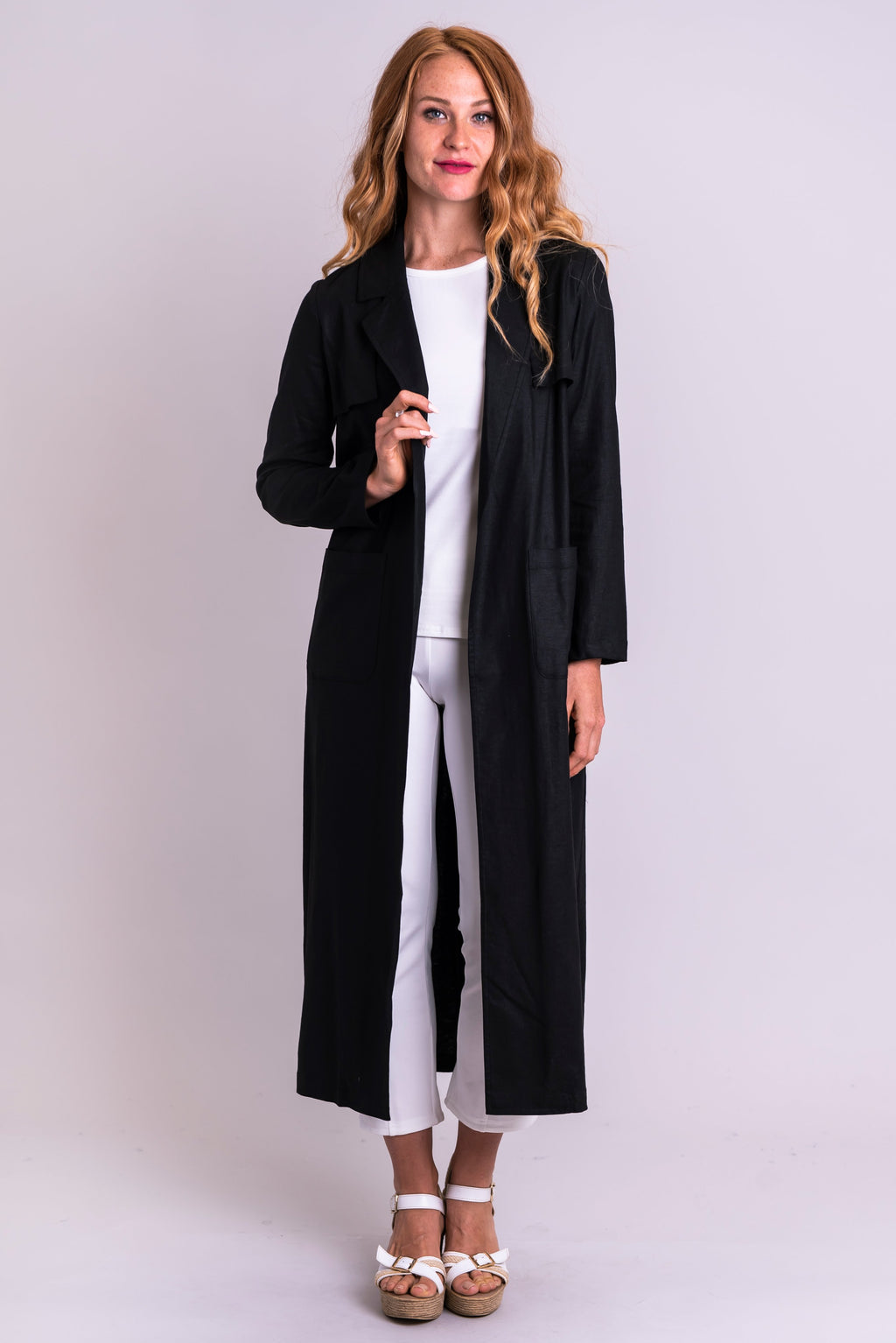 Mikayla Coat, Black, Linen Viscose - Blue Sky Clothing Co