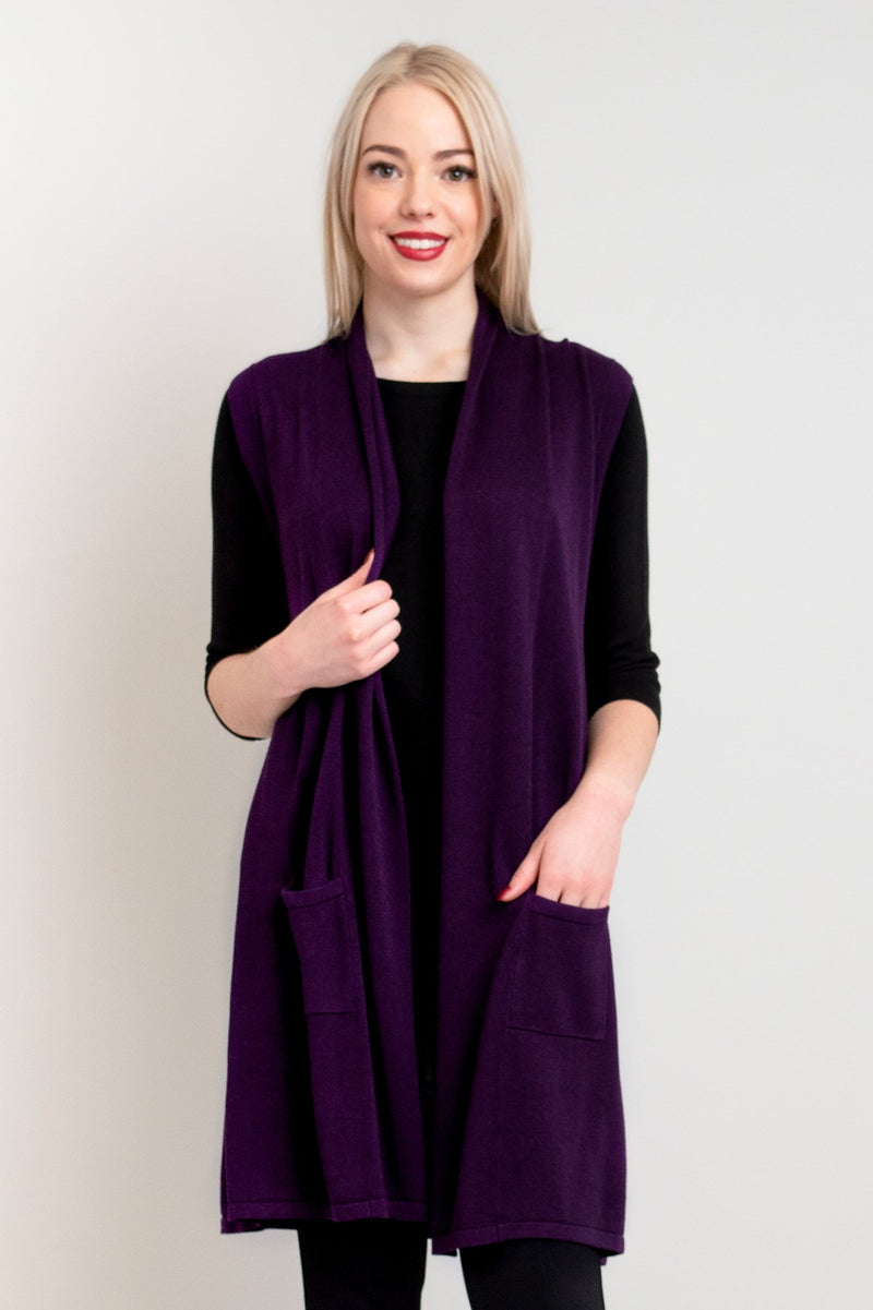 Women's purple long sleeveless vest sweater with pockets, made out of natural bamboo fibers.