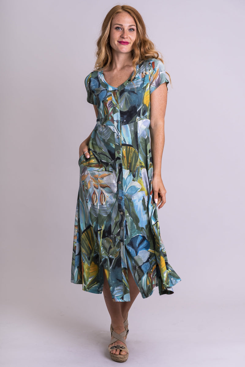 Women's khaki green abstract plant print short-sleeve fitted bodice long dress with buttons going down the front and band collar.
