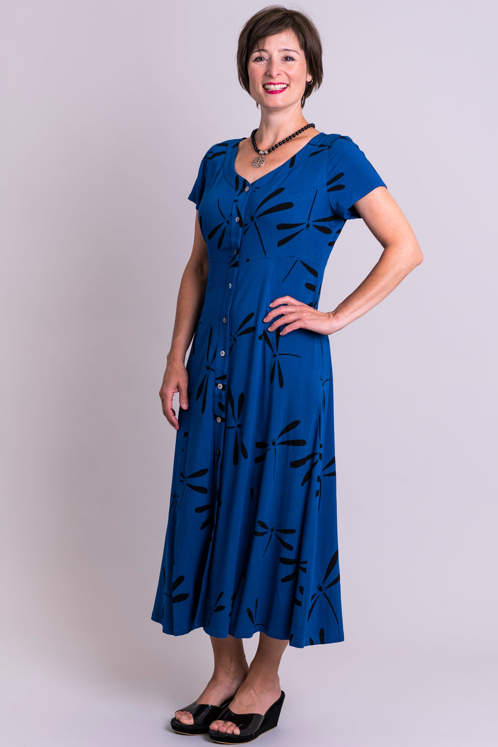 Morgan Dress, Sapphire Dragonfly, Linen Bamboo