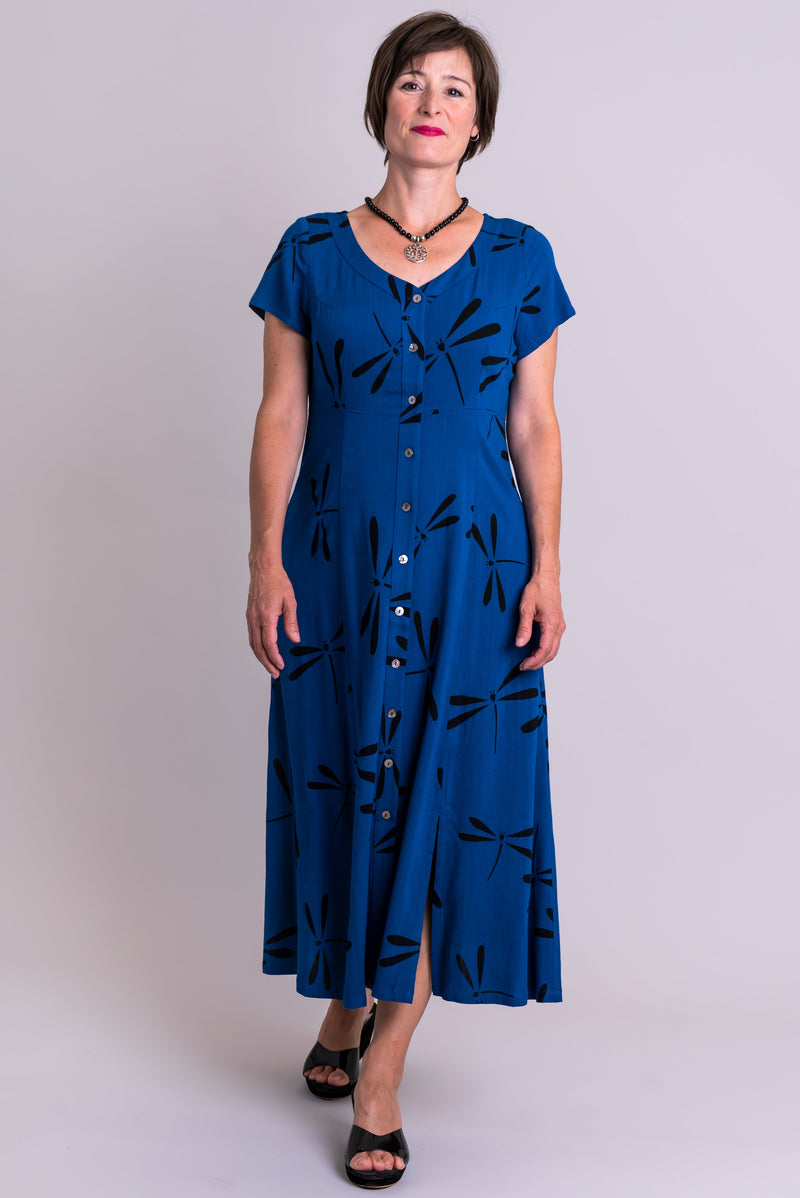Morgan Dress, Sapphire Dragonfly, Linen Bamboo - Blue Sky Clothing Co