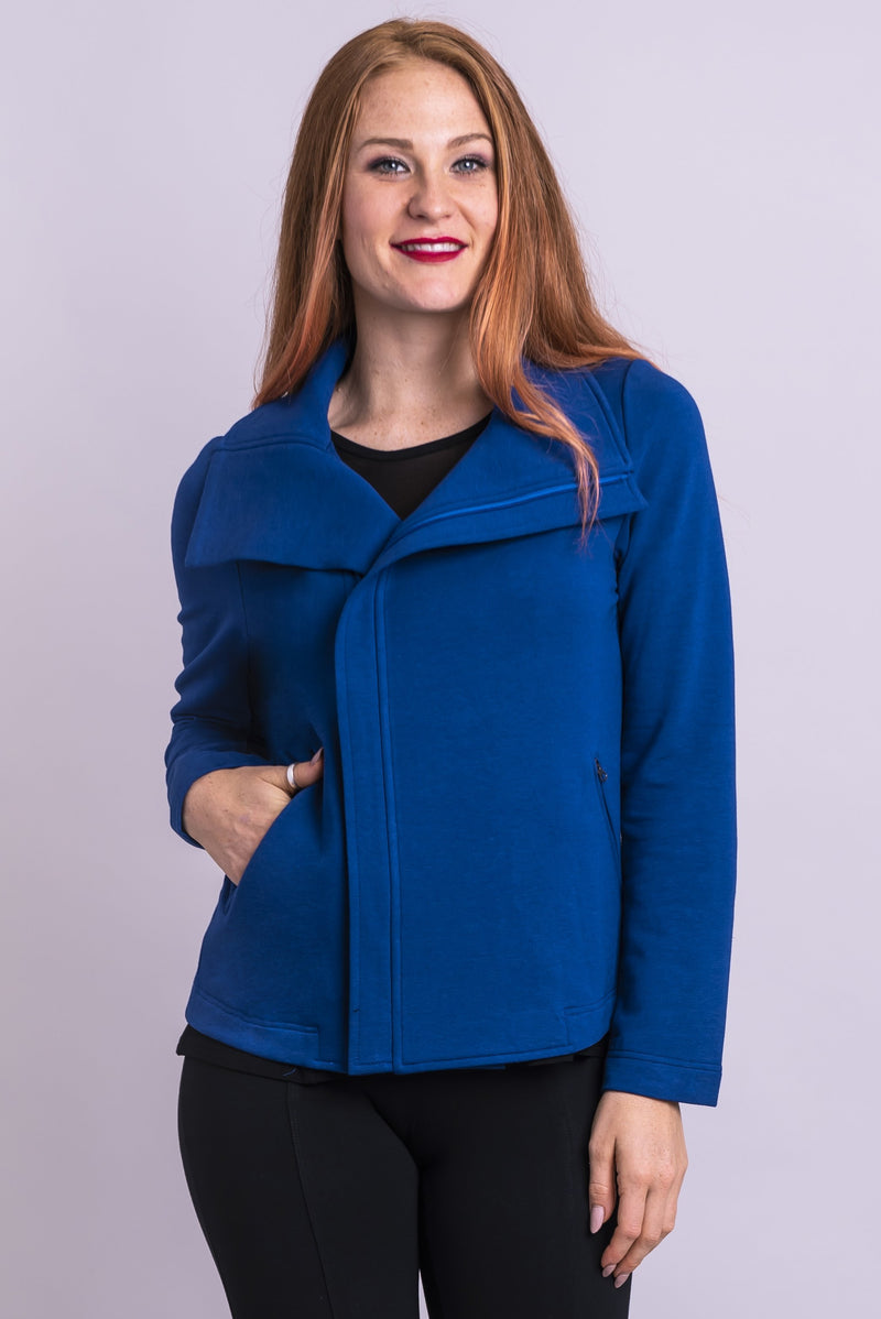 Women's lapis blue funnel neck long-sleeve moto jacket with zipper, made of bamboo fleece.