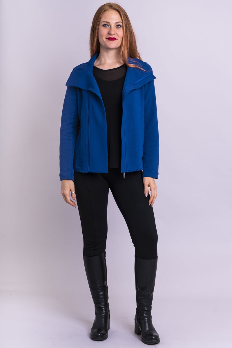 Moto Jacket, Lapis, Bamboo Fleece - Blue Sky Clothing Co