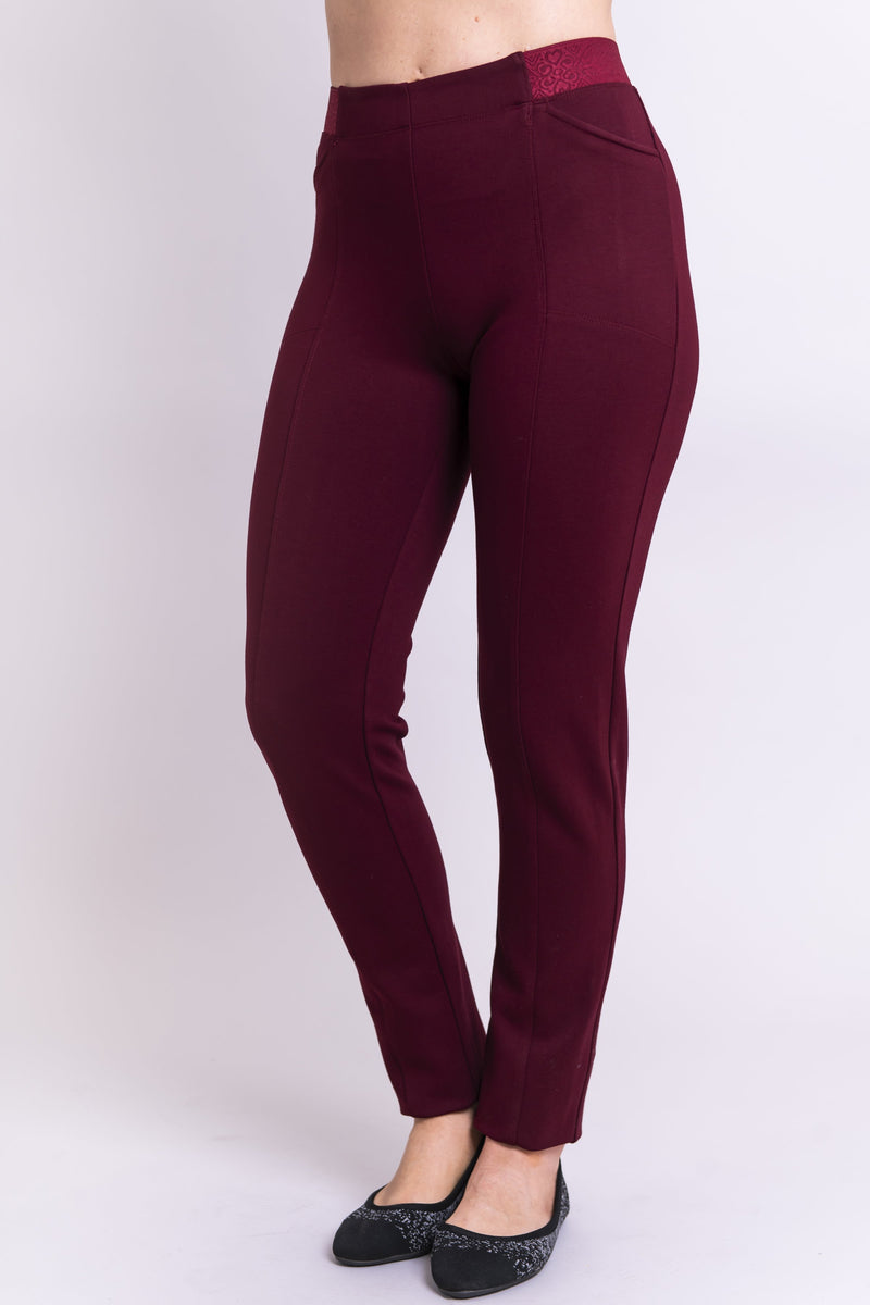Women's petite burgundy tailored pant, with slim and narrow leg. Made of sustainable and natural bamboo fibers, fair-trade.