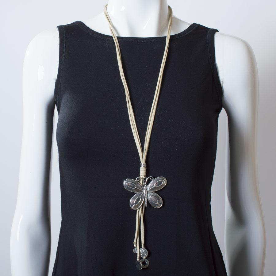 Necklace  Natural/Silver Butterfly - Blue Sky Clothing Co
