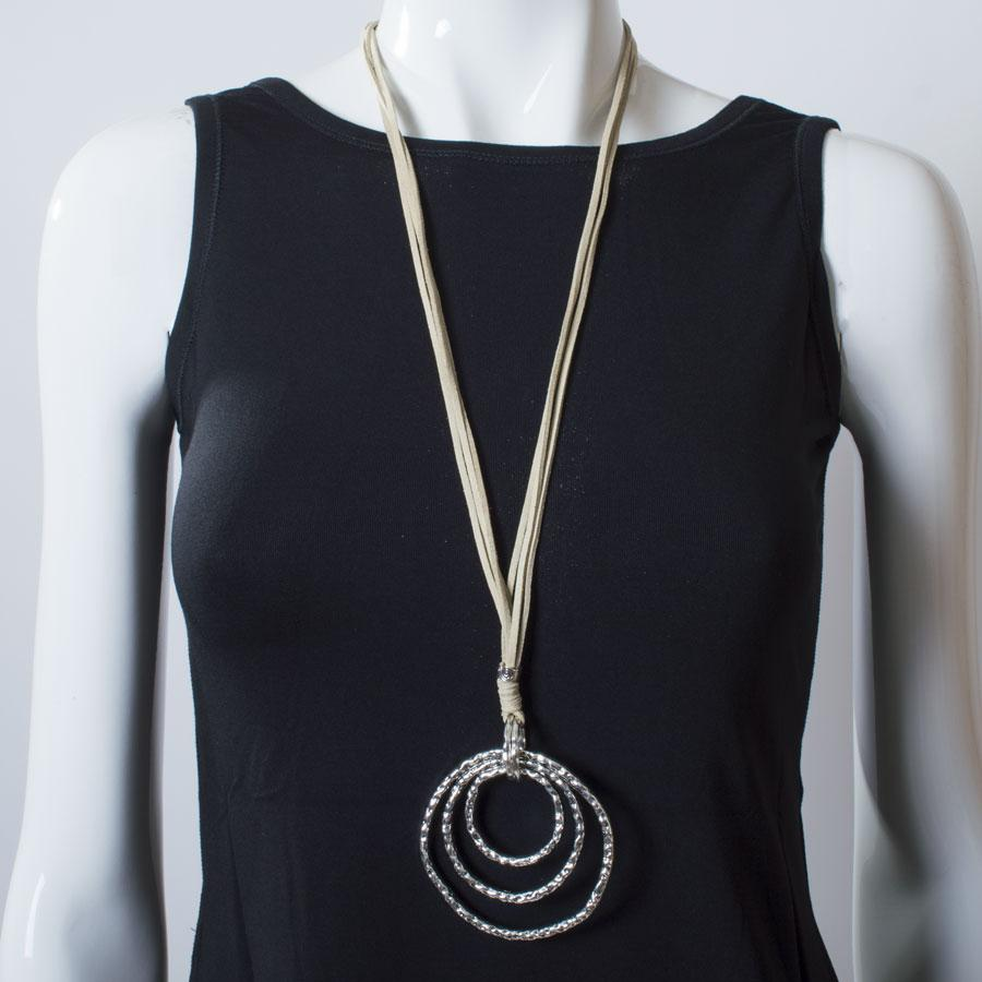 Necklace  Natural/Silver Circles - Blue Sky Clothing Co