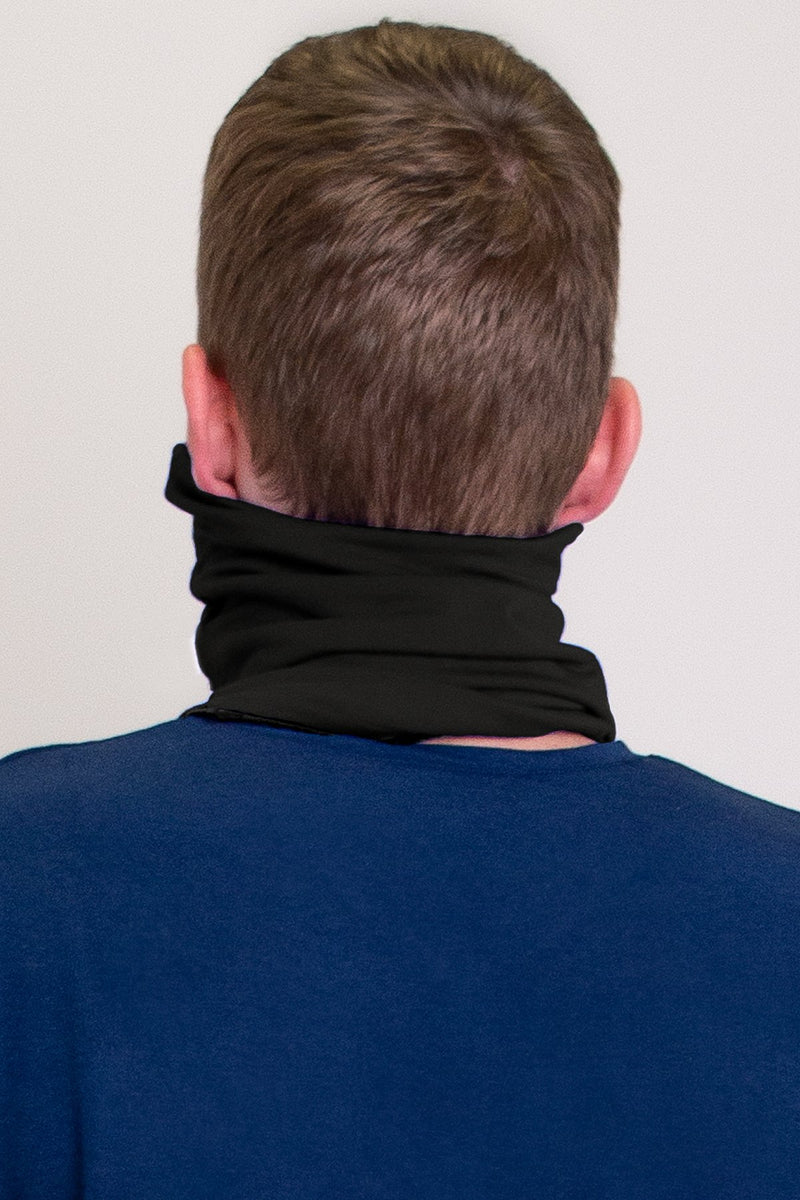 Black neck warmer/face cover mask.