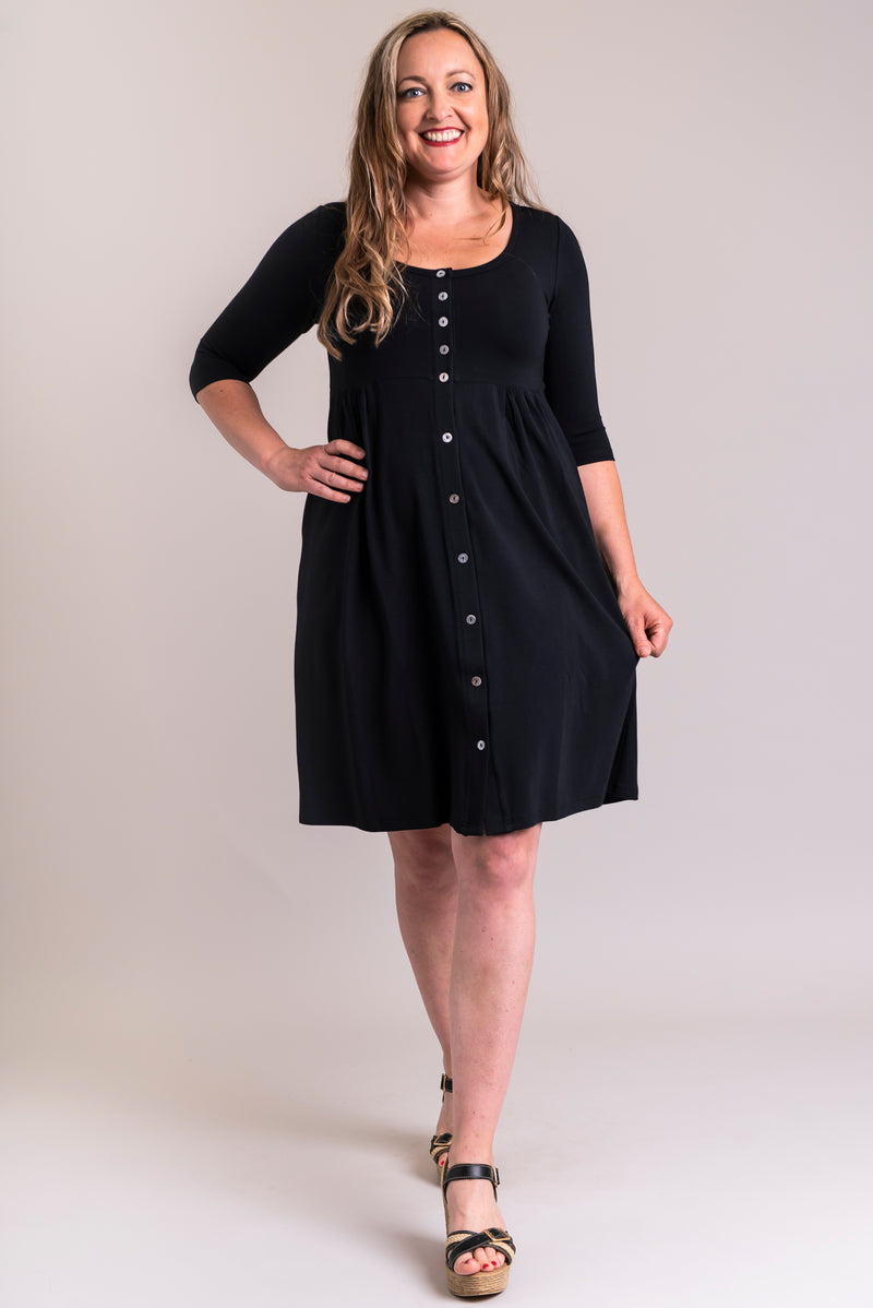 Women's black, fun and casual, 3/4 sleeve short dress with buttons and gathers at the waist.
