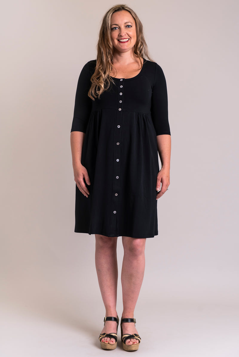 Nelly 3/4 Sleeve Dress, Black, Bamboo Cotton - Blue Sky Clothing Co