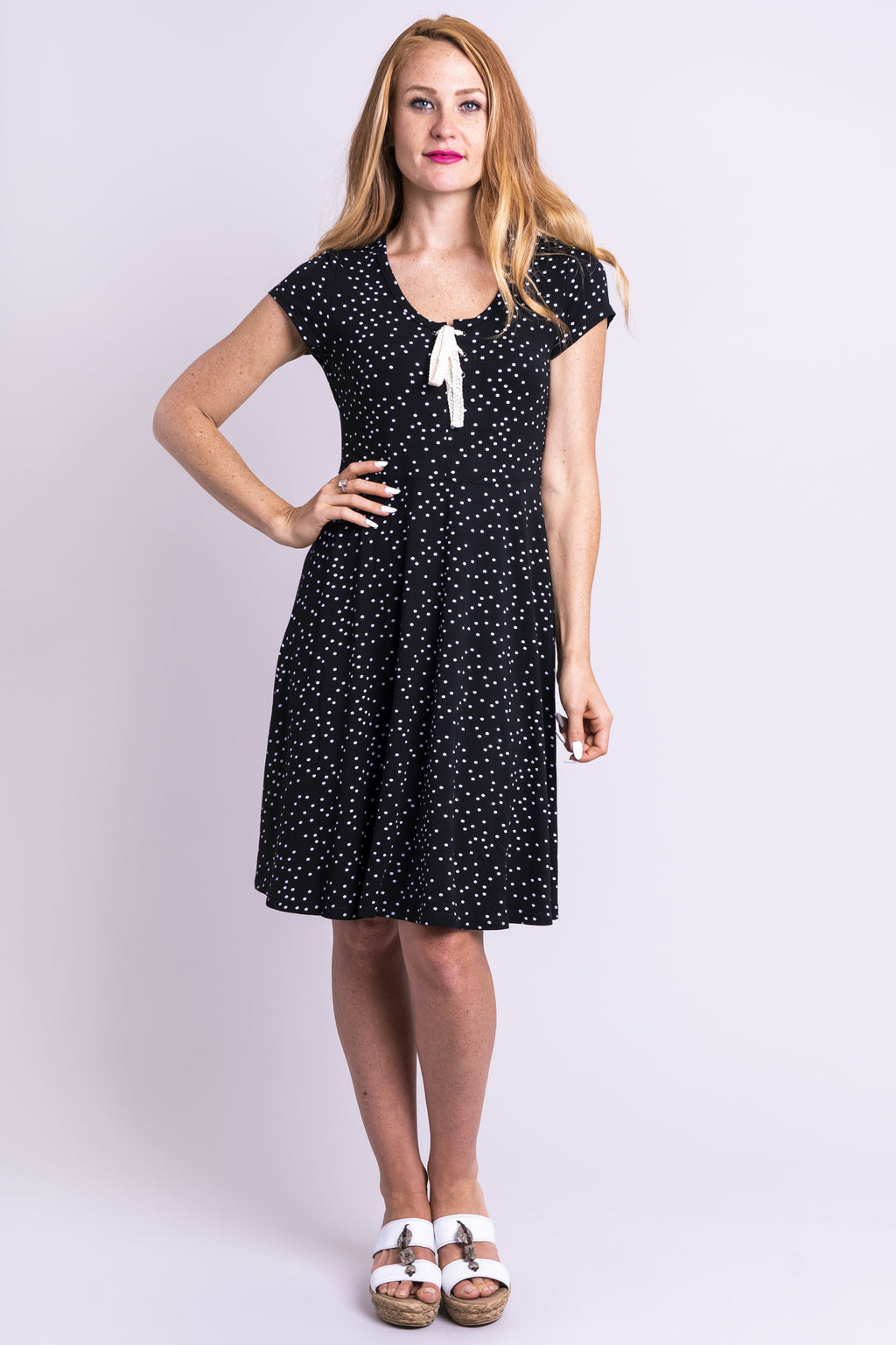 Nicola Dress, Vintage Polka, Bamboo