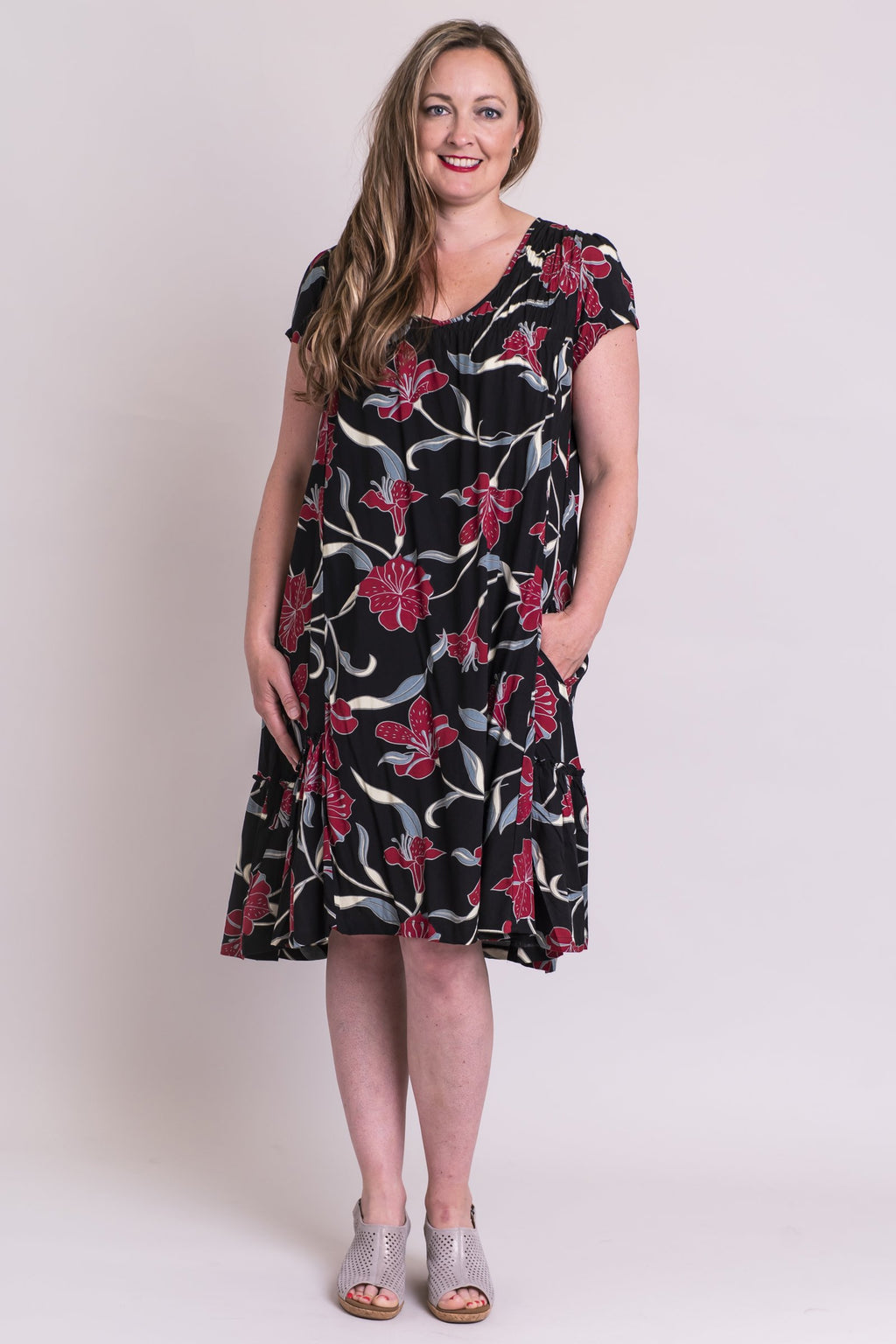 Noosa Dress, Red Lilytown, Viscose - Blue Sky Clothing Co
