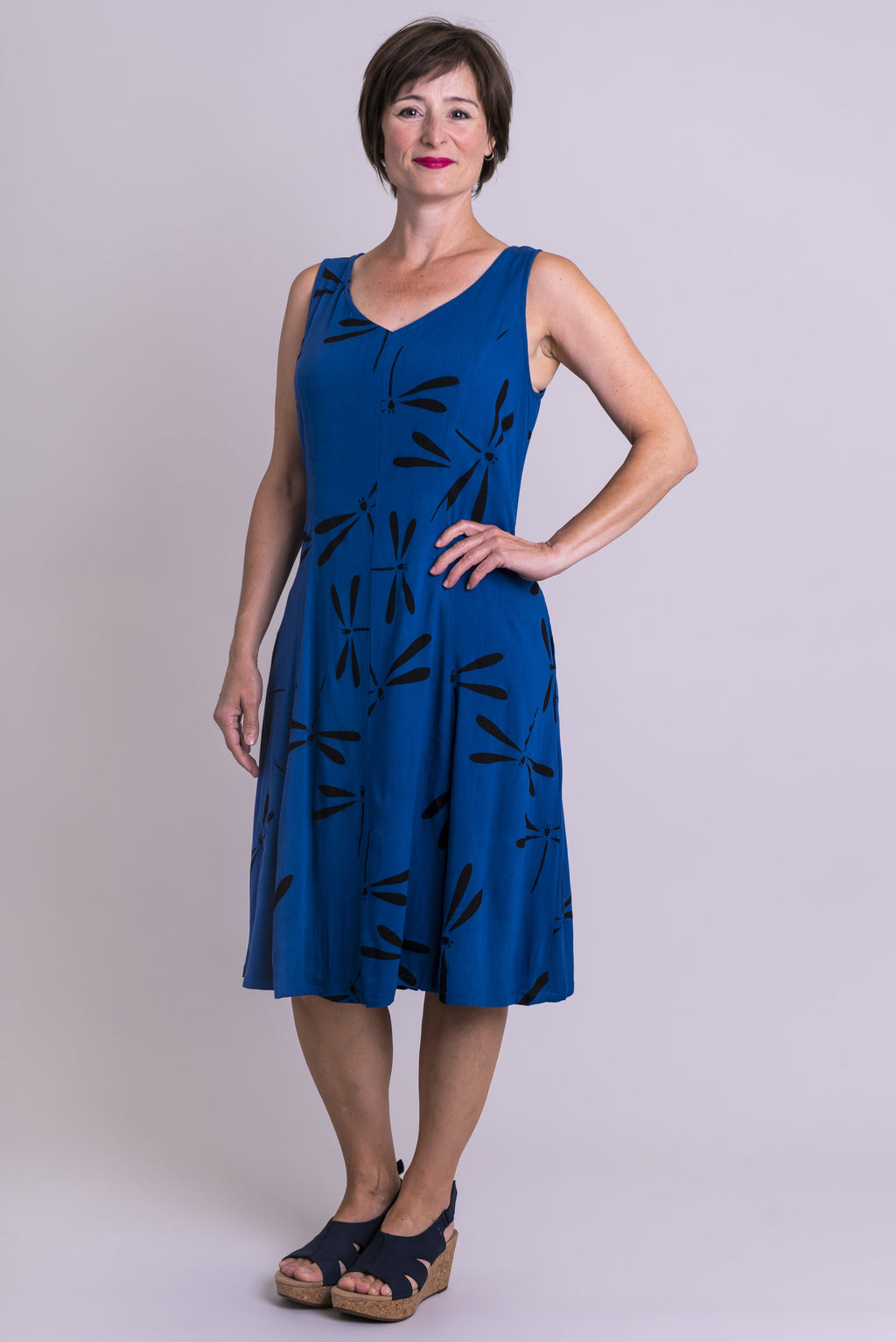 Odette Dress, Sapphire Dragonfly, Linen Bamboo - Blue Sky Clothing Co