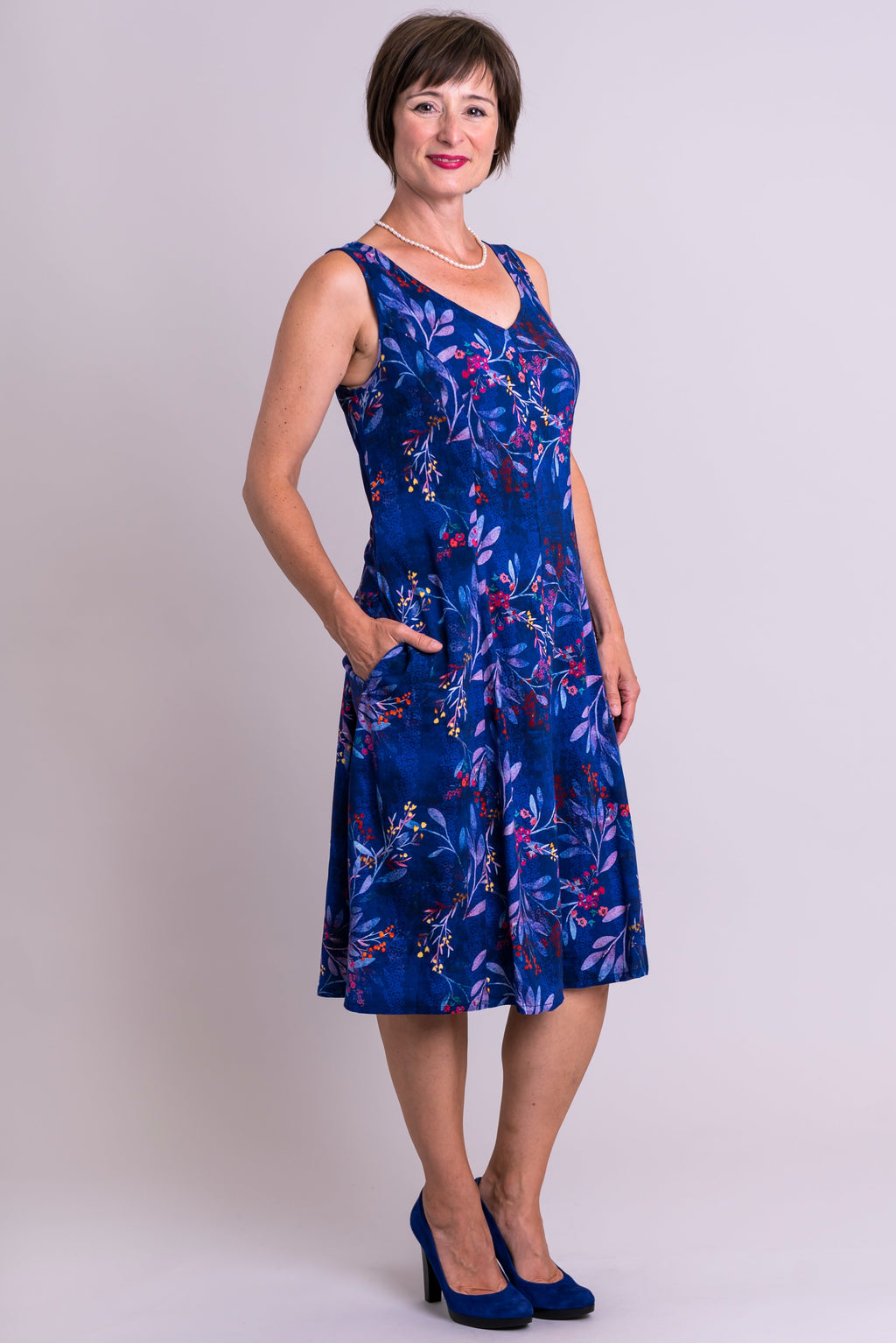 Odette Dress, Violetta, Linen Bamboo - Blue Sky Clothing Co