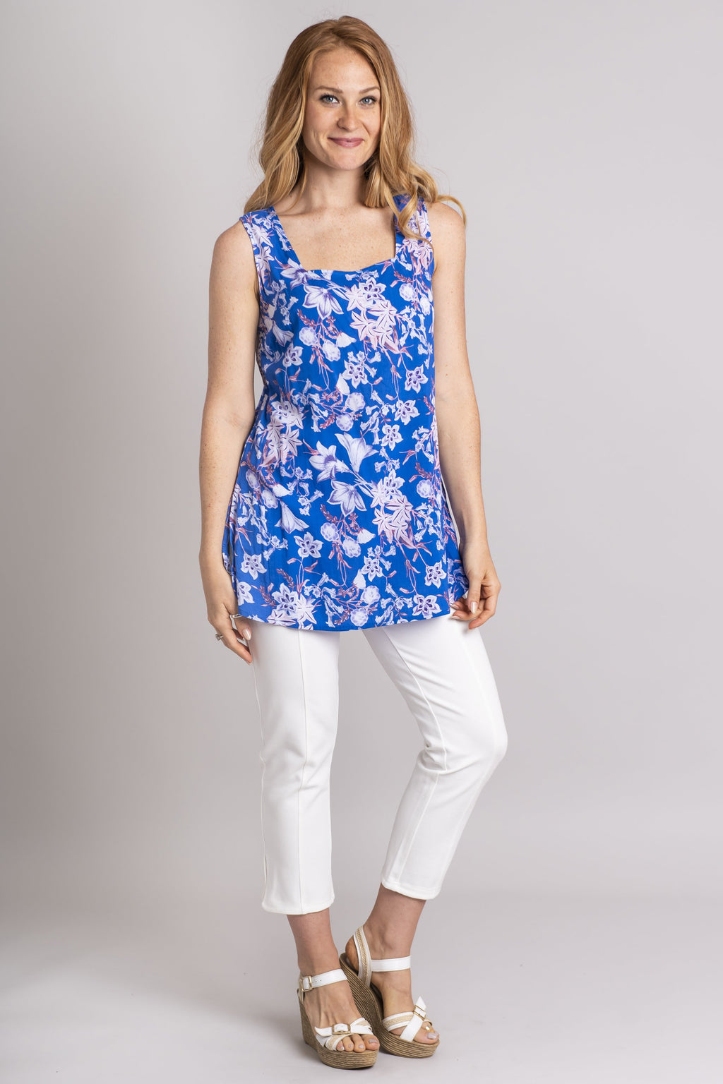 Oracle Tank, Blue Bellflowers, Batik Art - Blue Sky Clothing Co