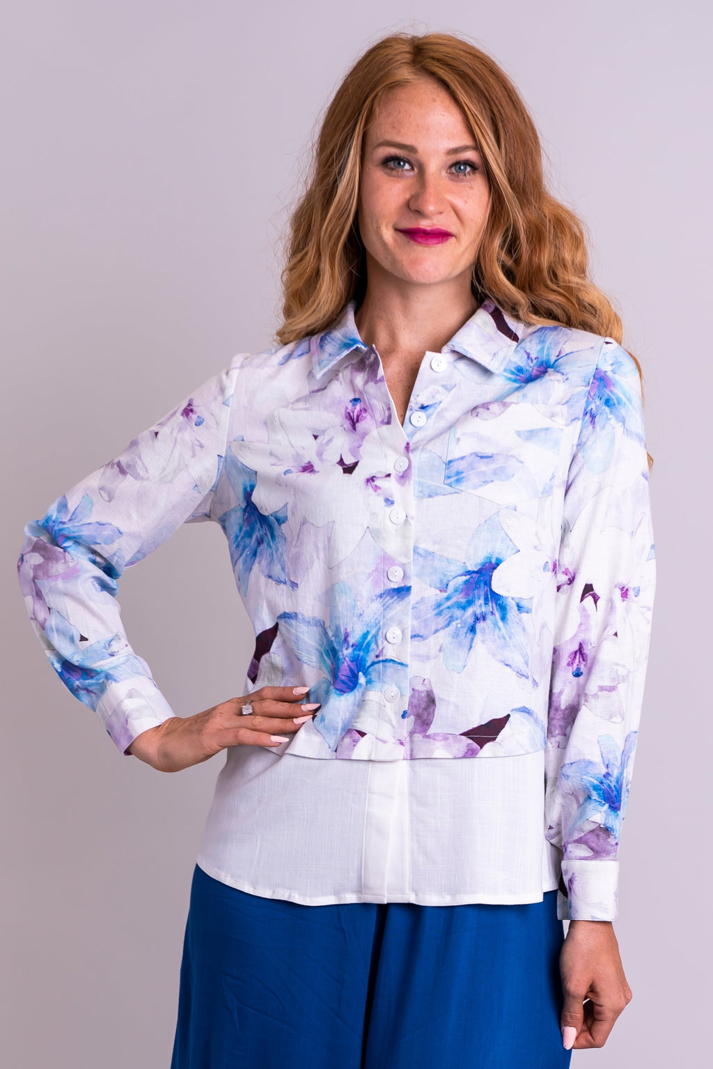 Orla Top, Valley Lilies, Linen Viscose - Blue Sky Clothing Co