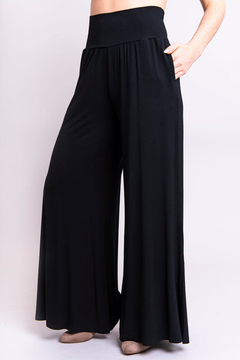 Women's black, long flowy wide-leg high-waisted pant with pockets, made with stretchy natural bamboo fibers.