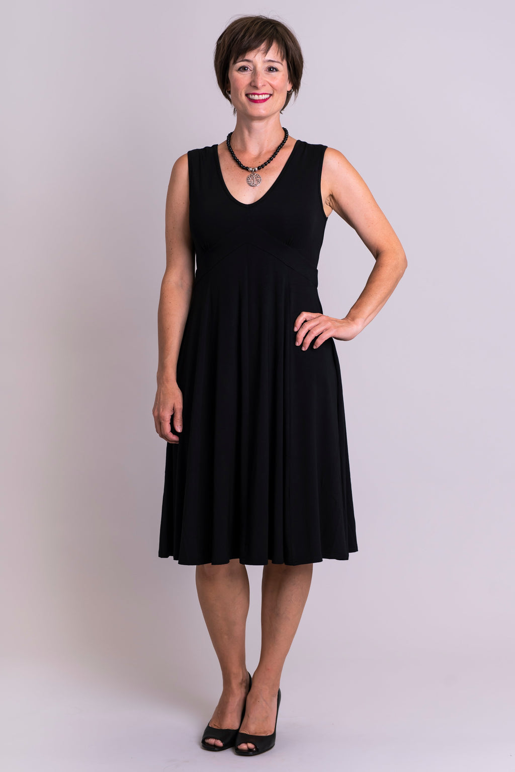 Pamela Dress, Black, Bamboo