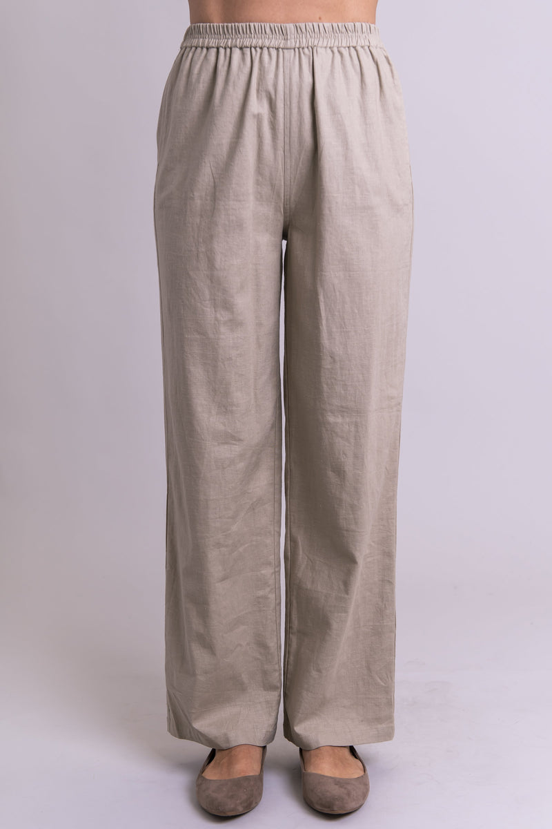 Women's taupe beige loose and comfy long linen pants with pockets.