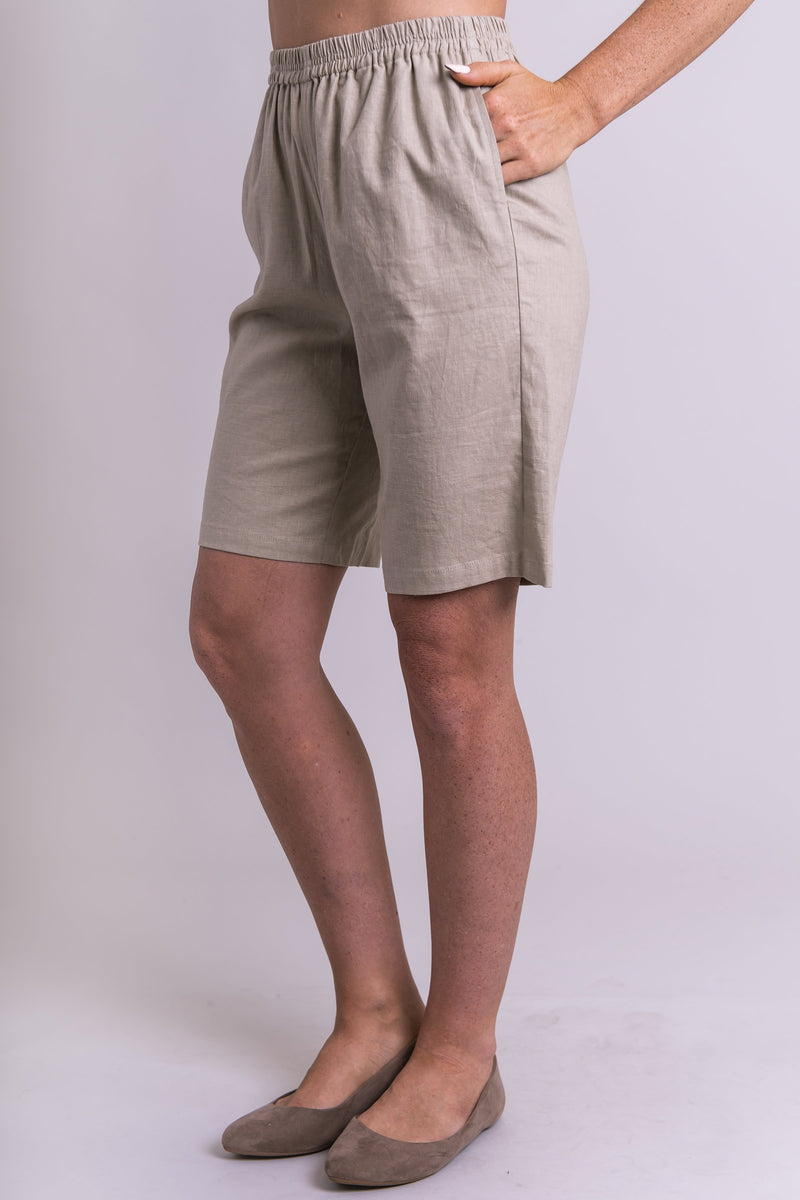 Parker Shorts, Taupe, Linen Viscose - Blue Sky Clothing Co