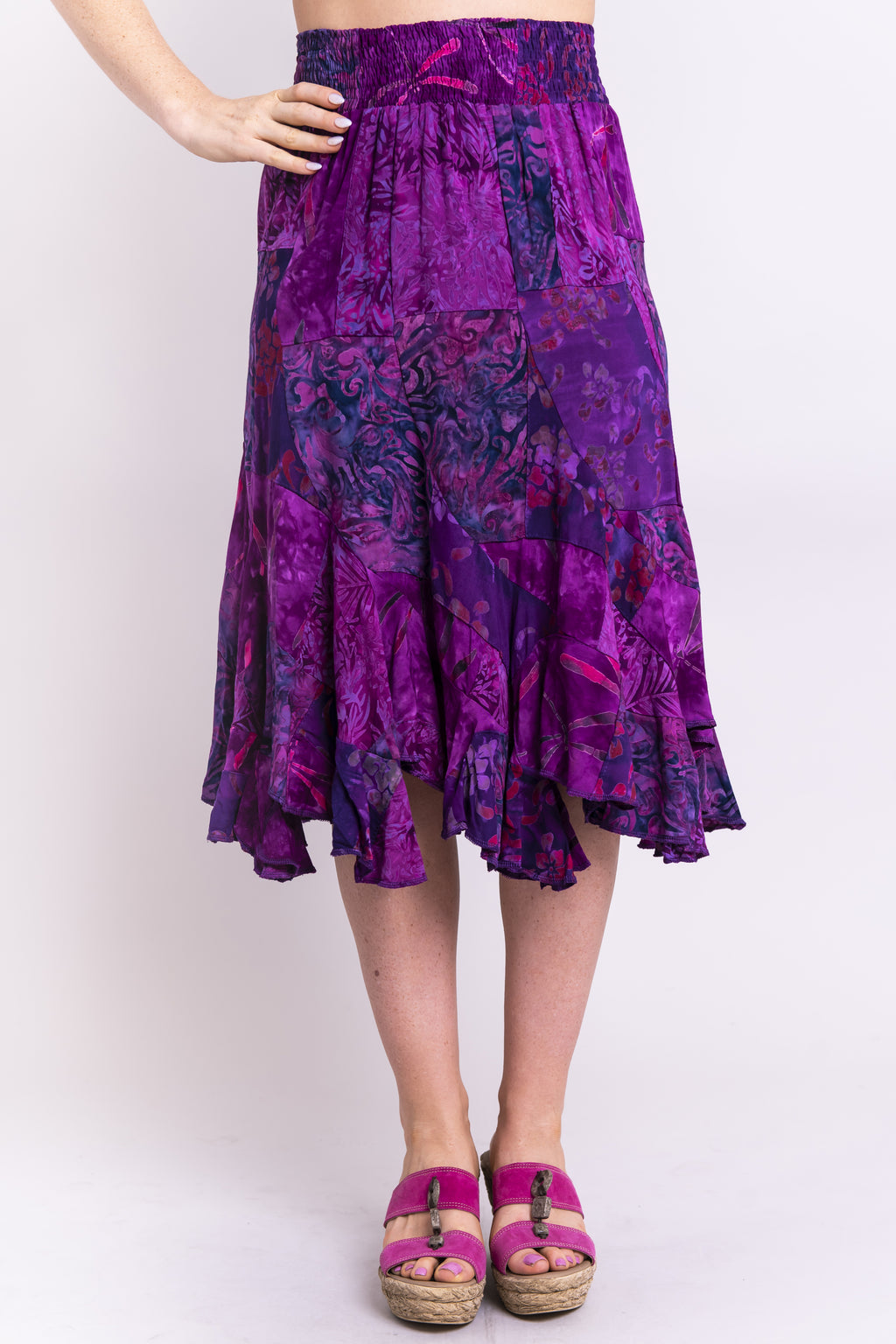 Patchwork Skirt, Magic Magenta, Batik Art - Blue Sky Clothing Co