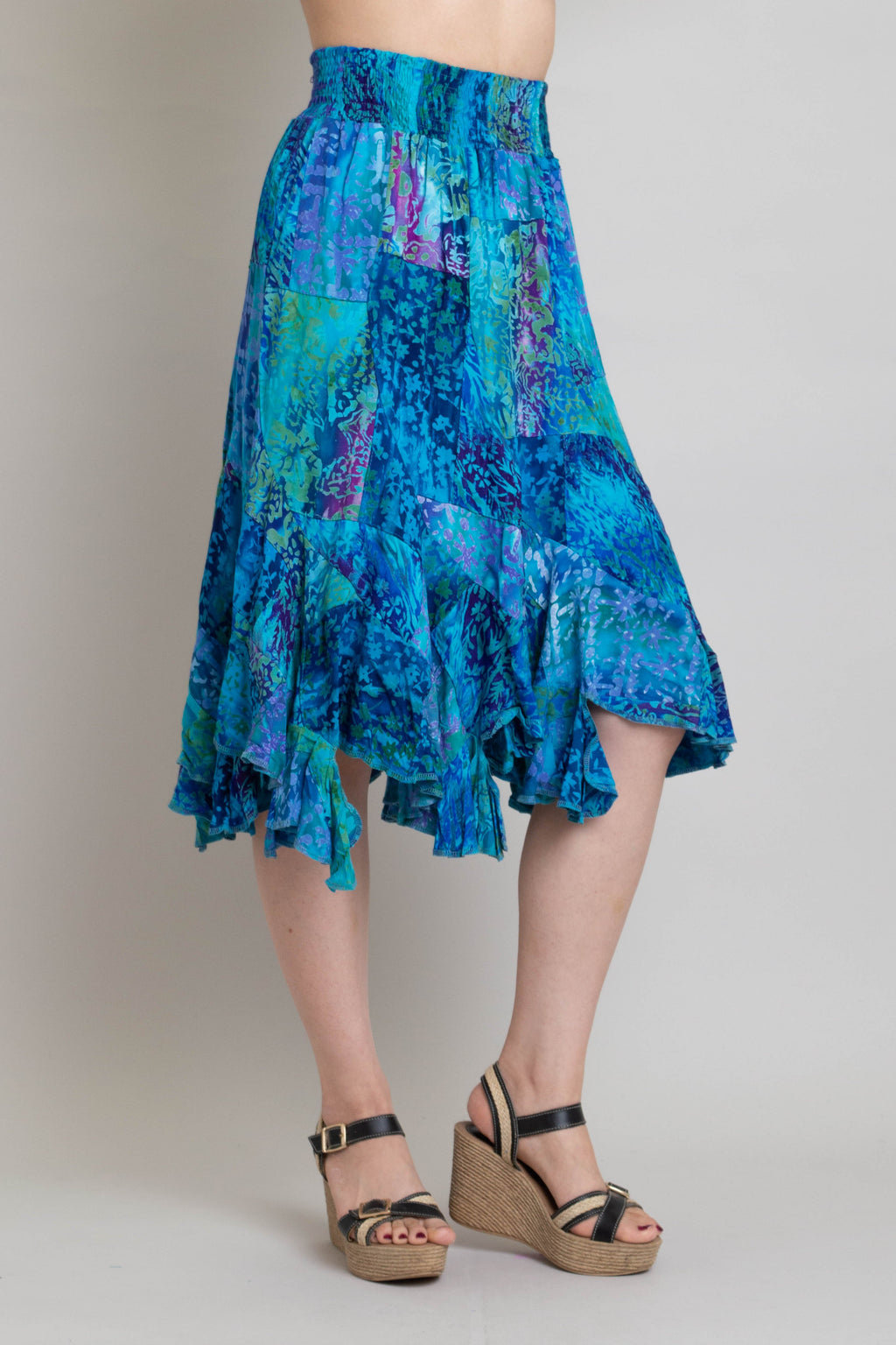 Patchwork Skirt, Ocean Meets Sky, Batik Art - Blue Sky Clothing Co