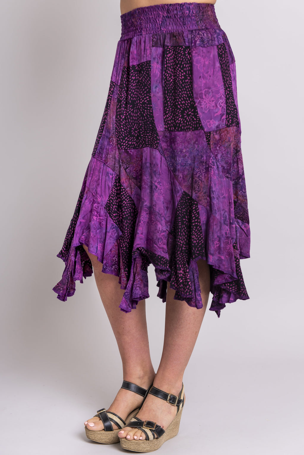 Patchwork Skirt, Purple Rain, Batik Art