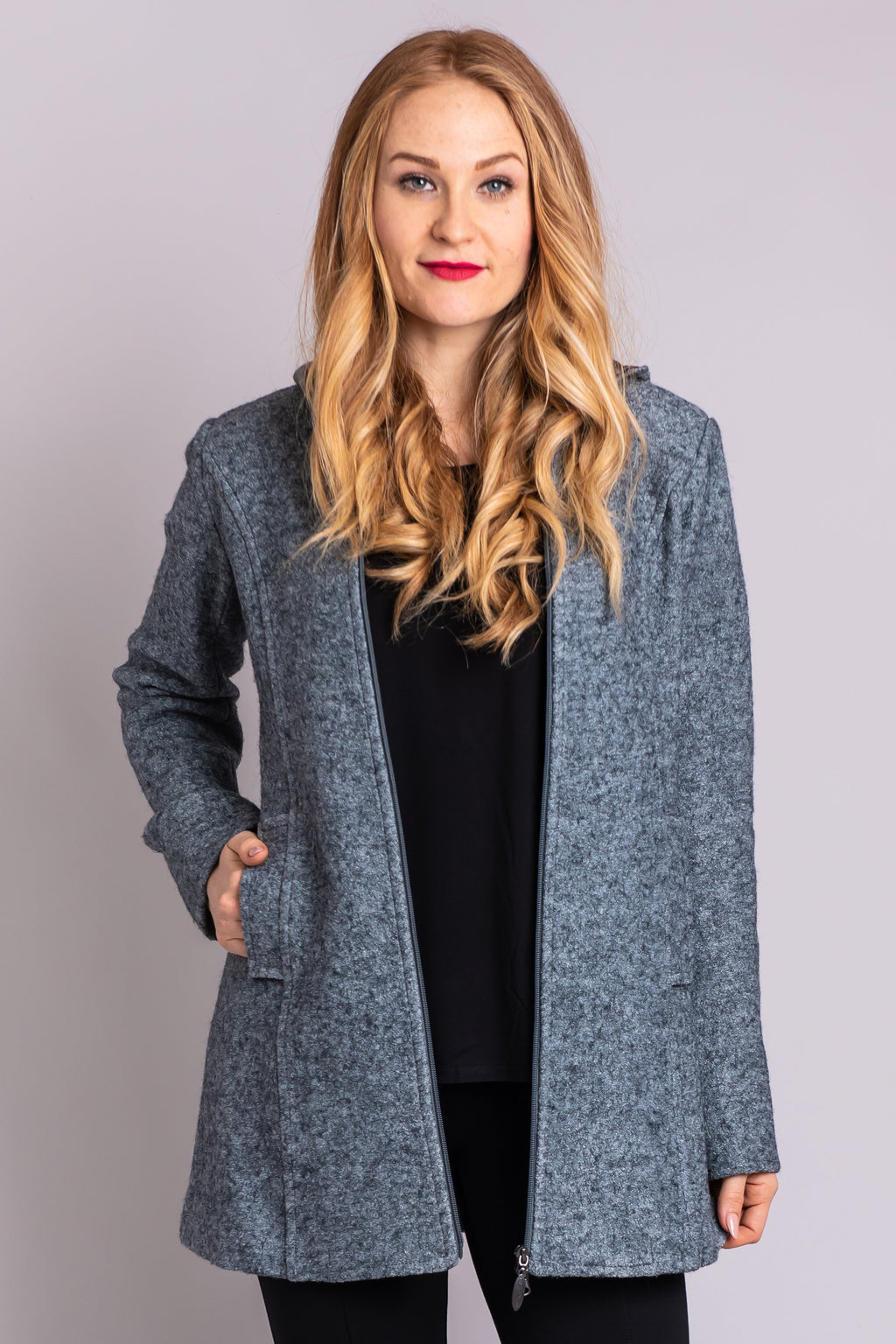 Pender Coat, Pearl Grey, Wool - Blue Sky Clothing Co