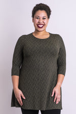 Women's casual khaki green chinook print 3/4 sleeve tunic dress with round neckline, made of natural bamboo fibers.
