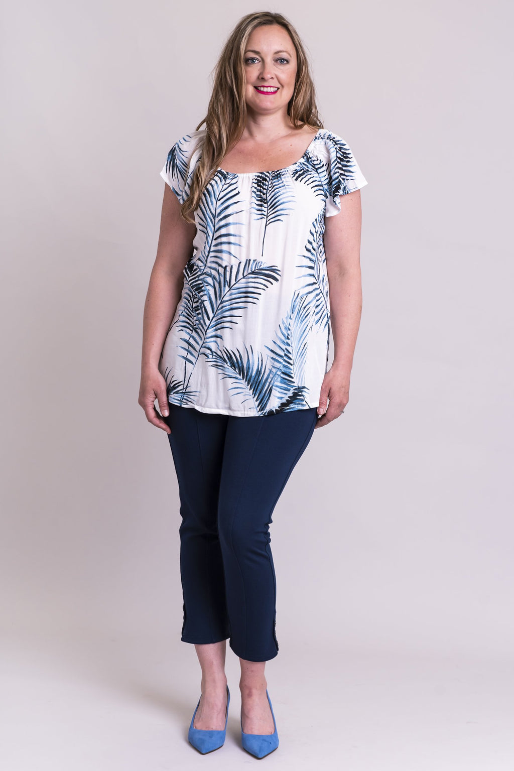 Petra Top, Palm Leaf, Rayon - Blue Sky Clothing Co