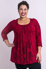 Women's plus-size red burgundy 3/4 sleeve wide neckline shirt with flat pleats, made with natural bamboo fibers.