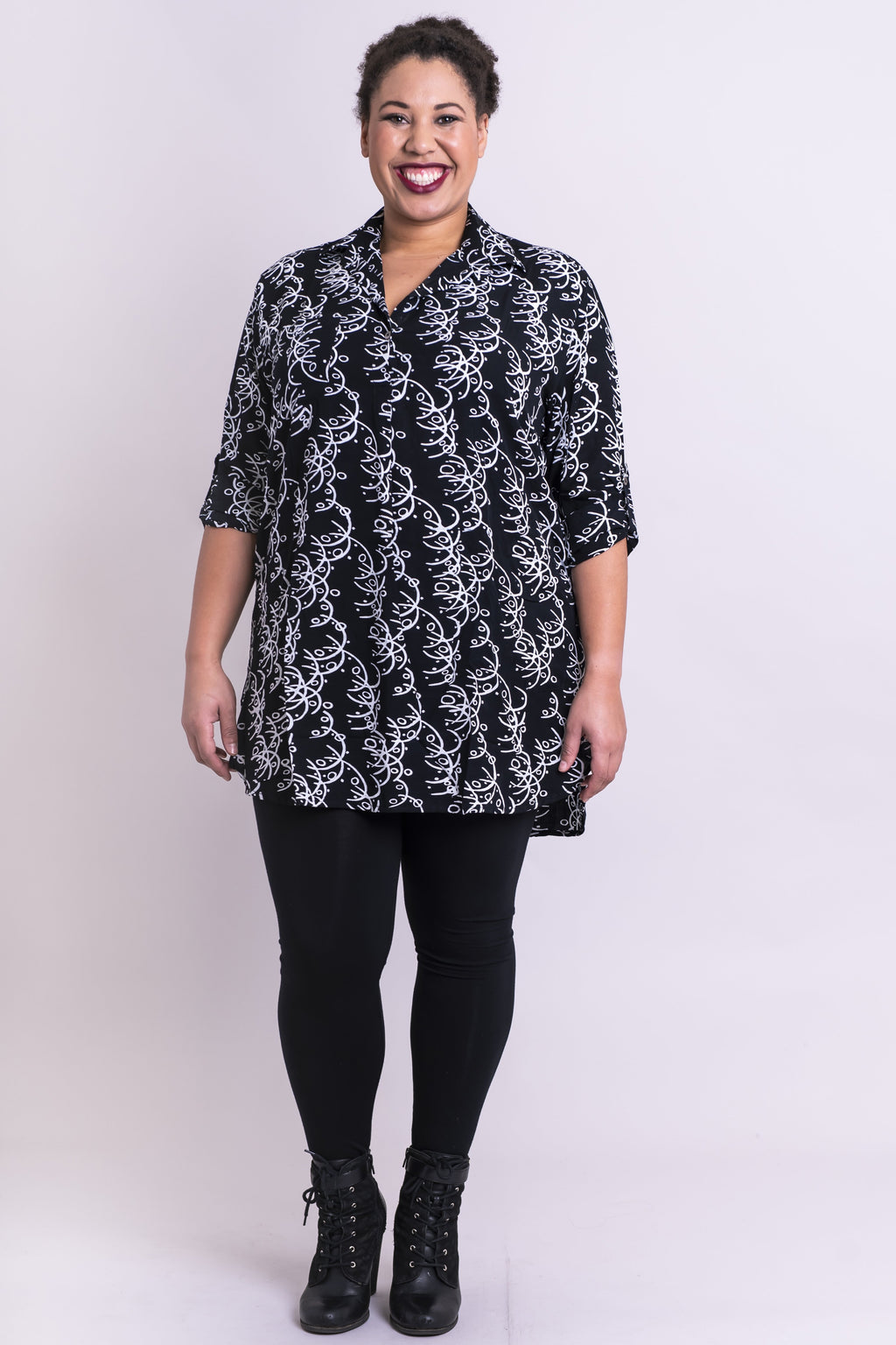 Queenie Top, Black Chalkboard, Batik Art - Blue Sky Clothing Co