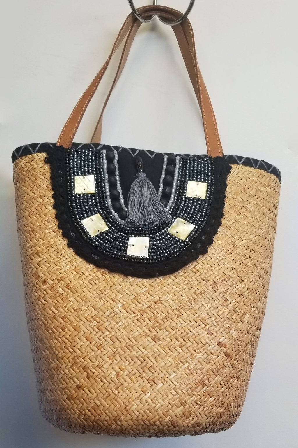 Black Rattan Hand Beaded Bag - Blue Sky Clothing Co