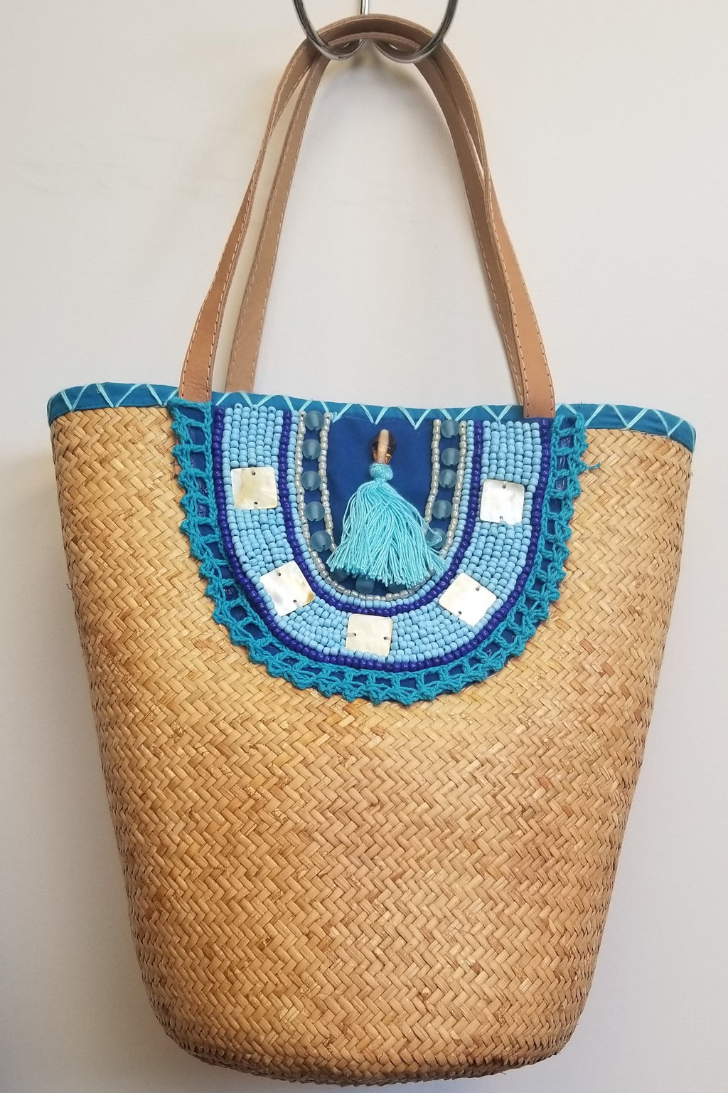 Blue Rattan Hand Beaded Bag - Blue Sky Clothing Co