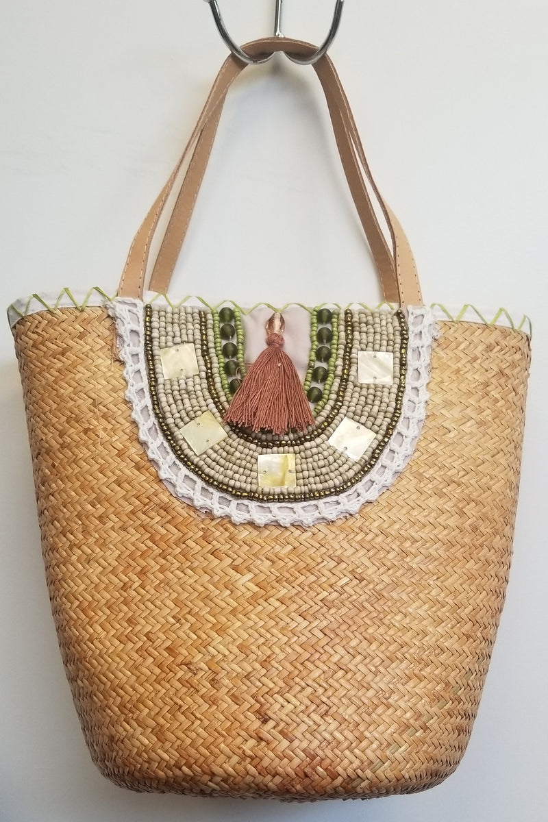 Neutral Rattan Hand Beaded Bag - Blue Sky Clothing Co