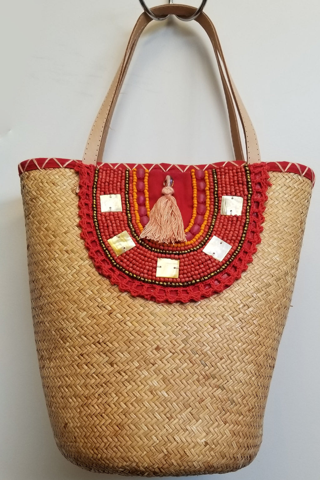 Red Rattan Hand Beaded Bag