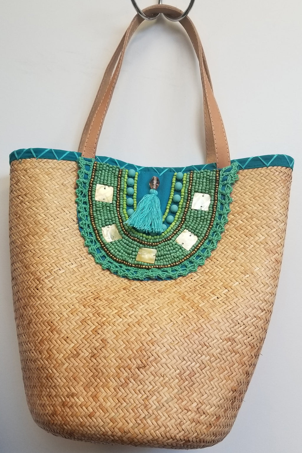 Teal Rattan Hand Beaded Bag - Blue Sky Clothing Co