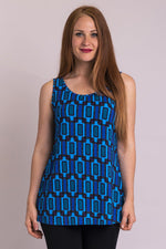 Women's blue Fairlane print casual flowy tank top with wide shoulder strap and U-neckline.
