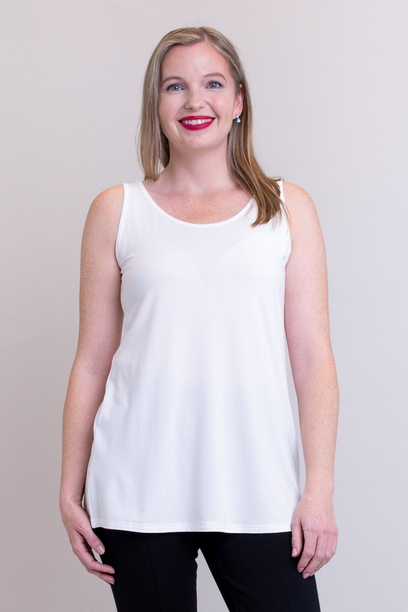 Women's plus-size casual white flowy tank top with wide shoulder strap and U-neckline.